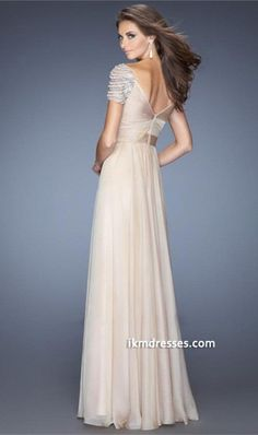 2015 Long Prom Dress Ruched Knotted Bodice Short Sleeves With Rows Of Rhinestones And Pearls Chiffon http://www.ikmdresses.com/2014-Long-Prom-Dress-Ruched-Knotted-Bodice-Short-Sleeves-With-Rows-Of-Rhinestones-And-Pearls-Chiffon-p85333