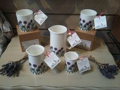 *Wiggles and Florence* Allium Head Fine Bone China Pretty Mugs & Jugs display at Spirals of Sheffield