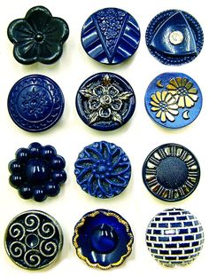 Vintage Midnight Blue Glass Buttons. Like this selection! Curleytop1.