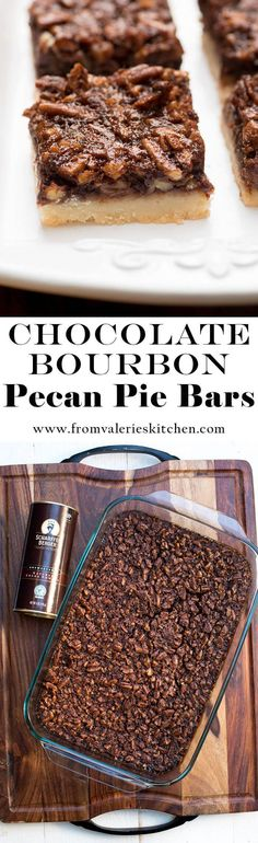 These Chocolate Bourbon Pecan Pie Bars have a shortbread crust topped with a gooey, chocolaty, bourbon-spiked pecan topping that is downright heavenly.  #SCHARFFENBERGER #rainforestalliance #ad