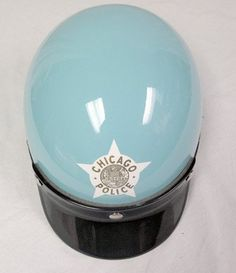 Vintage Original Super Seer DOT Chicago Police Baby Blue Motorcycle Helmet