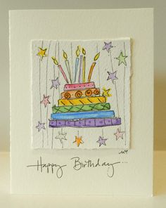 Rainbow Jello Cake With Hanging Stars Card by betrueoriginalart