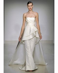 Peplum trumpet gown with a dramatic train, Amsale