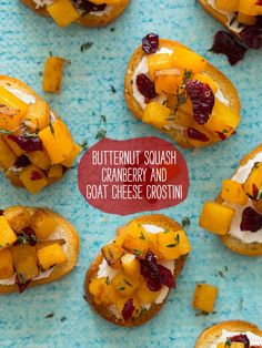 Butternut Squash Cranberry & Goat Cheese Crostini