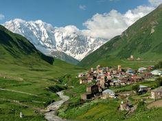 The mountain village უშგული/Ushguli in Svaneti (Georgia) in front of Shkhara mountain [OC] [46183464] - see http://www.classybro.com/ for more!