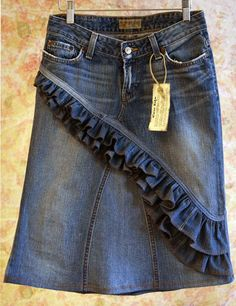 Love My Jean Skirt! Skirts made out of jeans. The skirts on the site are pretty pricey... But very cute!