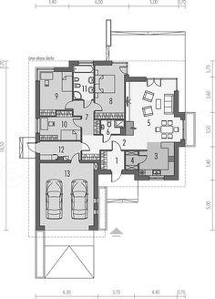 Rzut parteru projektu Eris (wersja C) multi-comfort 4 Bedroom House Plans, Bungalow House Plans, Facade House, Planer, Tiny House, Floor Plans, House Design, Flooring, How To Plan