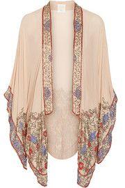 Bead-embellished crinkled silk-chiffon kimono jacket