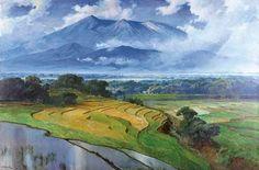 BASOEKI ABDULLAH (Indonesia 1915-1992) Gunung Salak (Mountain Salak) signed 'BASOEKI' (lower left); inscribed 'UNTK IBU HARTINI SOEKARNO DJAN-65' (on the reverse) oil on canvas 77 3/8 x 118 1/8 in. (196.5 x 300 cm.)