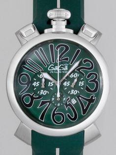 ガガミラノスーパーコピー マニュアルクロノ 48mm クォーツ 5050.6 グリーンラバー グリーン/ブラックアラビア      商品番号:5050.6