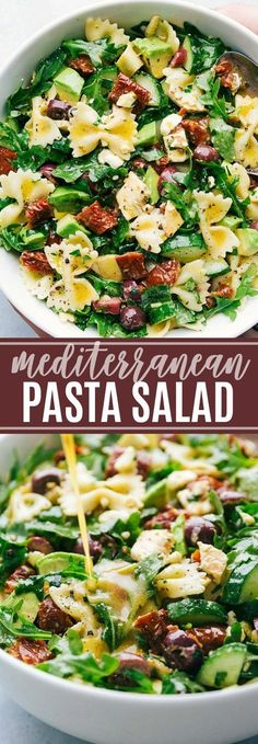 A delicious and healthy mediterranean pasta salad with arugula, veggie, and chicken salad with the best lemon vinaigrette