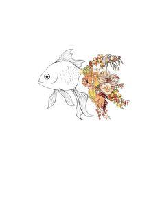Goldfish flowers 8x10 print by ChipmunkCheeks on Etsy
