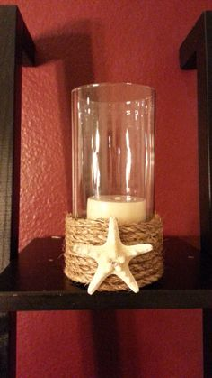 Nautical wrapped candle holder for beach wedding by RlynnsDesigns, $15.00