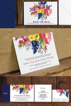 Love the mix of the whimsical bright watercolors and the modern fonts.  One of my favorites, such an elegant modern floral wedding invitation