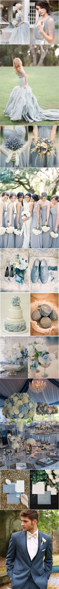 2015 wedding color ideas - dusty blue wedding color ideas for spring/ fall weddings