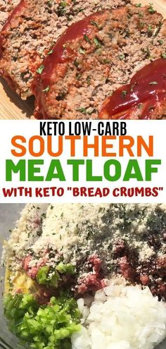 Low carb keto meatloaf made with almond flour. Keto breadcrumbs are used to make… Low carb keto meatloaf made with almond flour. Keto breadcrumbs are used to make this taste just like your favorite southern meatloaf recipe. Low Carb Desserts, Low Carb Recipes, Diet Recipes, Cooking Recipes, Healthy Recipes, Bread Recipes, Southern Meatloaf Recipe, Meatloaf Recipes, Keto Foods