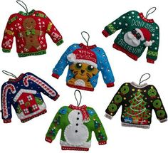 Bucilla Ugly Sweaters - Christmas Felt Applique Kit. Ugly Sweaters. Set of 6 Ornaments. 5.5 x 4.5. Create holiday traditions with heartwarming designs. Each kit