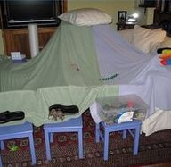 Forts: My sister and I made these each time we were sent to our room using the beds. Lots of fun!