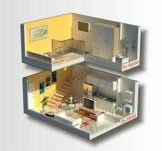 Pequeno loft Espace Design, Loft Design, House Design, Casas The Sims 4, Hotel Room Design, Small Condo, Toy House, Tiny Apartments, Apartment Interior Design