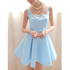 Vintage Square Neck Ruffled Bow Sleeveless Blue Women's DressVintage Dresses | RoseGal.com