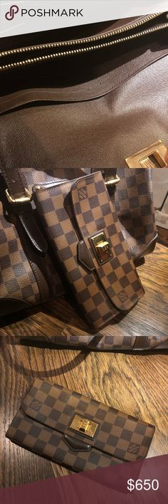 """Louis Vuitton Brown Damier Wallet I have never used it. Ever. I have favorites and this one is too """"pretty"""" for my everyday-usage. YES, it's authentic, the real deal. Looks brand new on the inside and inside. Louis Vuitton Bags Wallets"""