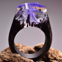 These Are Probably The Most Beautiful Rings In The Whole World - Inside each of these wooden rings is a beautiful hidden world