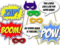 diy photo booth super hero props-with link Batman Party, Superhero Birthday Party, Boy Birthday, Birthday Ideas, Baby Superhero, Birthday Parties, Happy Birthday, Superhero Photo Booth, Photo Booth Props