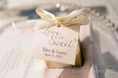 Love is Sweet Wedding Favor Tags Personalized with Names and Date Thin Style