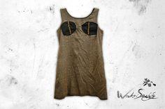 .STEAMPUNK.  Lana. Combinación de marrones con gris. Detalles tipo bustier de piel y estoperoles. Talla G. $399