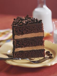 Recipe features three layers of chocolate cake; two layers of mocha-chocolate filling; frosted in a chocolate-coffee ganache. The fourth element of chocolate is a garnish of chocolate curls on top! Chocolate Filling, Delicious Chocolate, Chocolate Desserts, Cake Chocolate, Nutella Cake, Mocha Chocolate, Chocolate Frosting, Chocolate Cheese, Chocolate Lovers