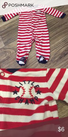 Baby boy baseball footie pajamas Great condition check out my other baby boy items and if you would like me to make you a bundle of 2 or more I will make a listing with a discounted price if anything has been worn it had been washed and hung dried!!!! One Pieces Footies