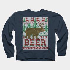 Deer & Bear Meet For Beer Crewneck By Garaga Design By Humans