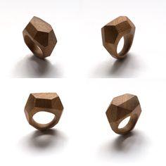 Faset rings by dorandkie jewellery objects Wooden Jewelry, Handmade Jewelry, Wood Rings, Ring Ring, Diamond Jewelry, Jewerly, Objects, Jewelry Design, African
