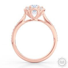 Custom Crafted Flower Blossom Round Halo Engagement Ring in Romantic Rose Gold and Round GIA certified diamond. Bashert Jewelry. FREE SHIPPING to all orders in USA.