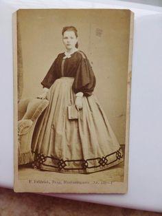 Antique Old CDV Photo c1860s Girl Pretty Civil War Era Crinoline Fashion | eBay