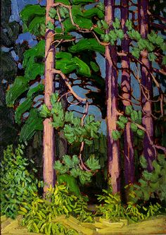 "Lawren Harris, Group of Seven, Canadian Artist, ""Trees, Algonquin Park"" (I notice a resemblance to the fluid approach of Emily Carr in her paintings of trees . though the two were very much apart geographically speaking. Tom Thomson, Group Of Seven Artists, Group Of Seven Paintings, Canadian Painters, Canadian Artists, Landscape Art, Landscape Paintings, Landscapes, Paintings Of Trees"