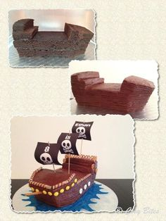 Make Ship Like This. Want To Make With Pre-made Mini Cakes.Pirate Ship Cake (With Hershey's Chocolate Cake Recipe)
