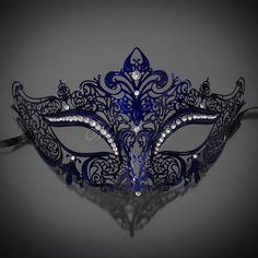 New Women Metal Mask Venetian Style Navy Blue Colorful Masquerade Mask Party * Hurry! Check out this great product : Home Decorative Accessories Blue Masquerade Masks, Mascarade Mask, Couples Masquerade Masks, Masquerade Dresses, Masquerade Wedding, Masquerade Costumes, Maskerade Outfit, Decoration St Valentin, Halloween Ball