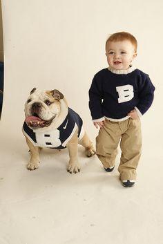 Bulldog, boy, brothers, Butler, blue