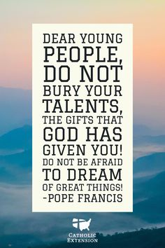 A great motivational quote from Pope Francis.   #Catholic #CatholicChurch