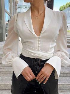 Womens Girls Ladies Chiffon Long Sleeved Blouse V Neck Fancy Tie Shirt New Trend Fashion, Moda Fashion, Fashion Outfits, Fashion Clothes, Womens Fashion, Crop Blouse, Collar Blouse, Shirt Blouses, V Neck Blouse