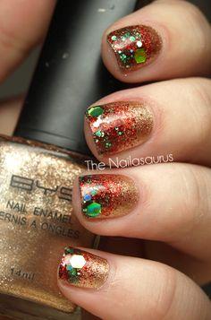 The Nailasaurus   UK Nail Art Blog: 12 Days of Christmas Nails: Day 11... Festive Glitter Fiasco