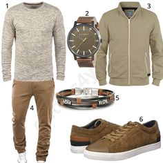 Beiges Herren-Outfit mit Chino und Sneakern (m0595) #outfit #style #fashion #menswear #herren #männer #shirt #mode #styling #sneaker #menstyle #mensfashion #menswear #inspiration #shirt #cloth #clothing #ootd #herrenoutfit #männeroutfit