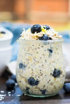 This Blueberry Lemon Coconut Overnight Oats recipe is so easy and ready in the morning for you! Chia seeds, almond milk, fresh blueberries and more are a healthy way to start your morning. Can be made vegan as well! Overnight Oats Almond Milk, Blueberry Overnight Oats, Blueberry Juice, Overnight Oatmeal, Healthy Overnight Oats, Almond Joy, 21 Day Fix, What's For Breakfast, Breakfast Recipes