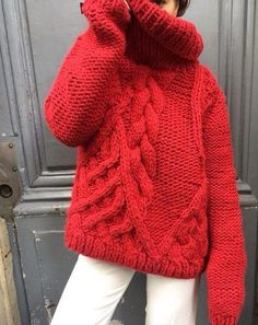 chunky red sweater - Google Search