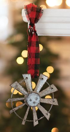 KP Creek Gifts - Glittered Windmill Ornament with Buffalo Check Hanger. This trendy ornament looks beautiful on any tree.