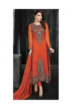 Bring out the ethnic diva in you wearing this Orange coloured Chiffon salwar suit this Eid. #ethnicwearforwomen #womenssalwarsuits #womensethnicwear https://trendybharat.com/women/ethnics-wear/women-ethnic-wear-pakistani-lawn-suits/orange-chiffon-salwar-suit-set-ma0207