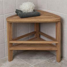 Teak Wood Corner Shower Stool