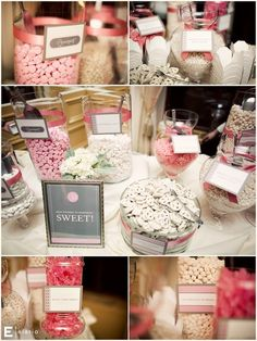 candy bar for the wedding white and coral for the fall