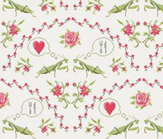 The mantis girl is hungry of love fabric by analinea on Spoonflower - custom fabric